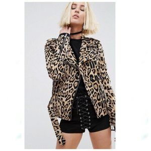 Tripp NYC Leopard Wild Child Moto Jacket